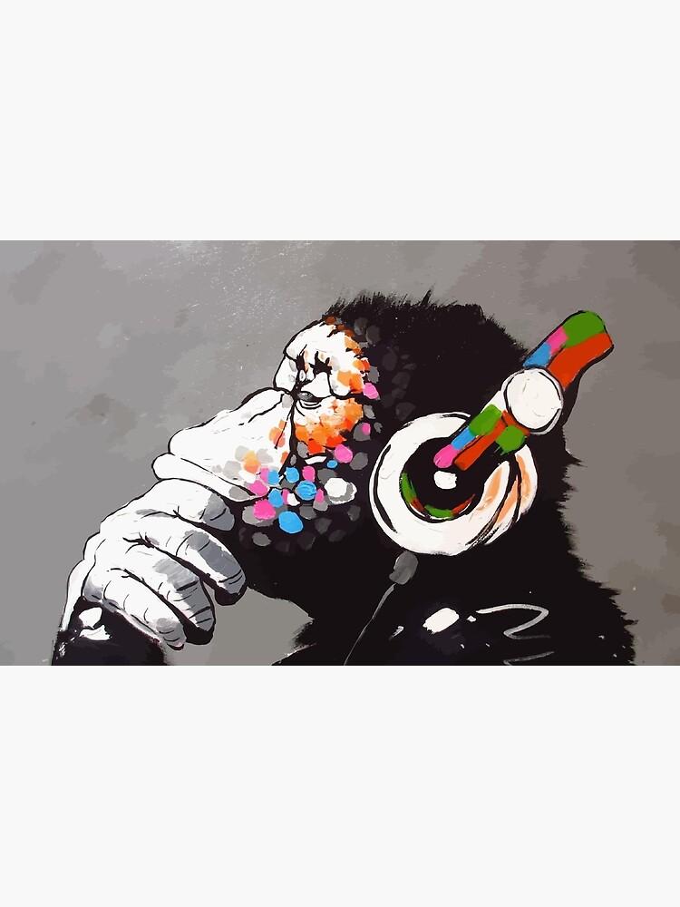 Banksy DJ Monkey Thinker with Headphones by bufumofo