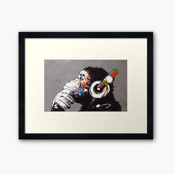 Banksy DJ Monkey Thinker with Headphones Framed Art Print