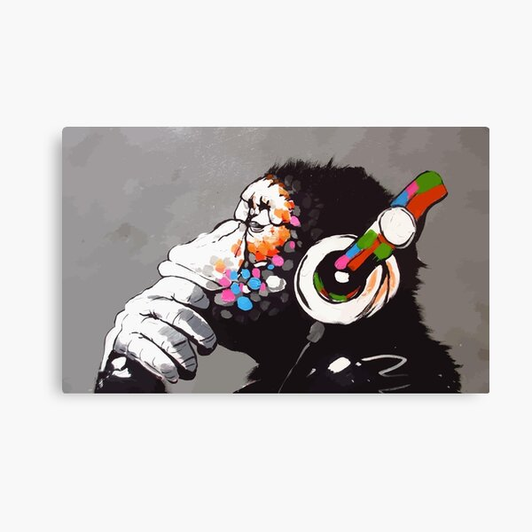 Banksy DJ Monkey Thinker with Headphones Canvas Print
