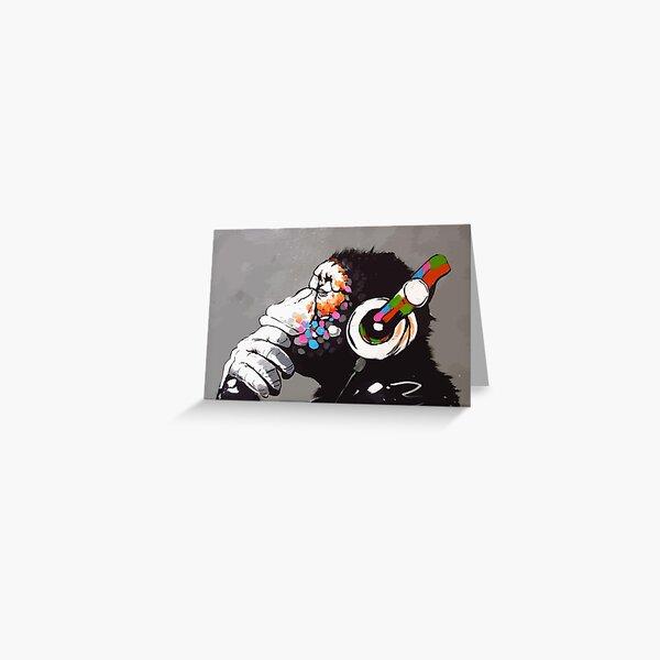 Banksy DJ Monkey Thinker with Headphones Greeting Card