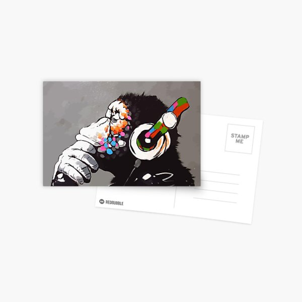Banksy DJ Monkey Thinker avec un casque Carte postale