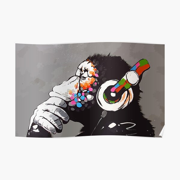 Banksy DJ Monkey Thinker con auriculares Póster