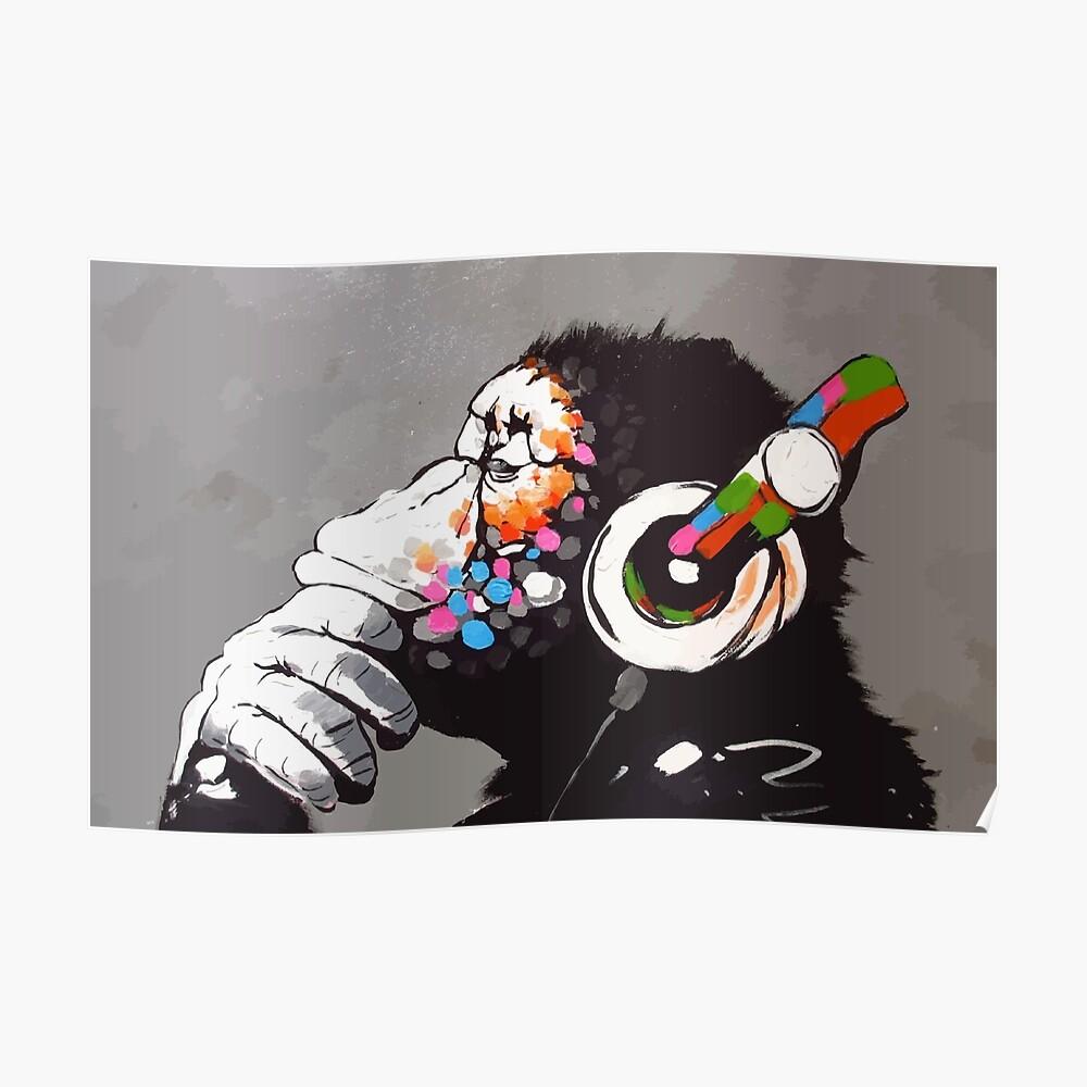 Banksy DJ Monkey Denker mit Kopfhörer Poster