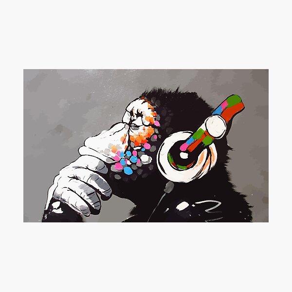 Banksy DJ Monkey Thinker with Headphones Photographic Print