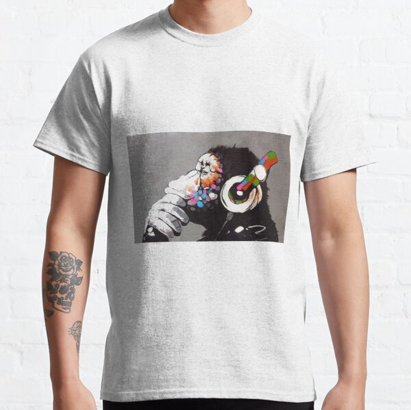Banksy DJ Monkey Thinker with Headphones Classic T-Shirt