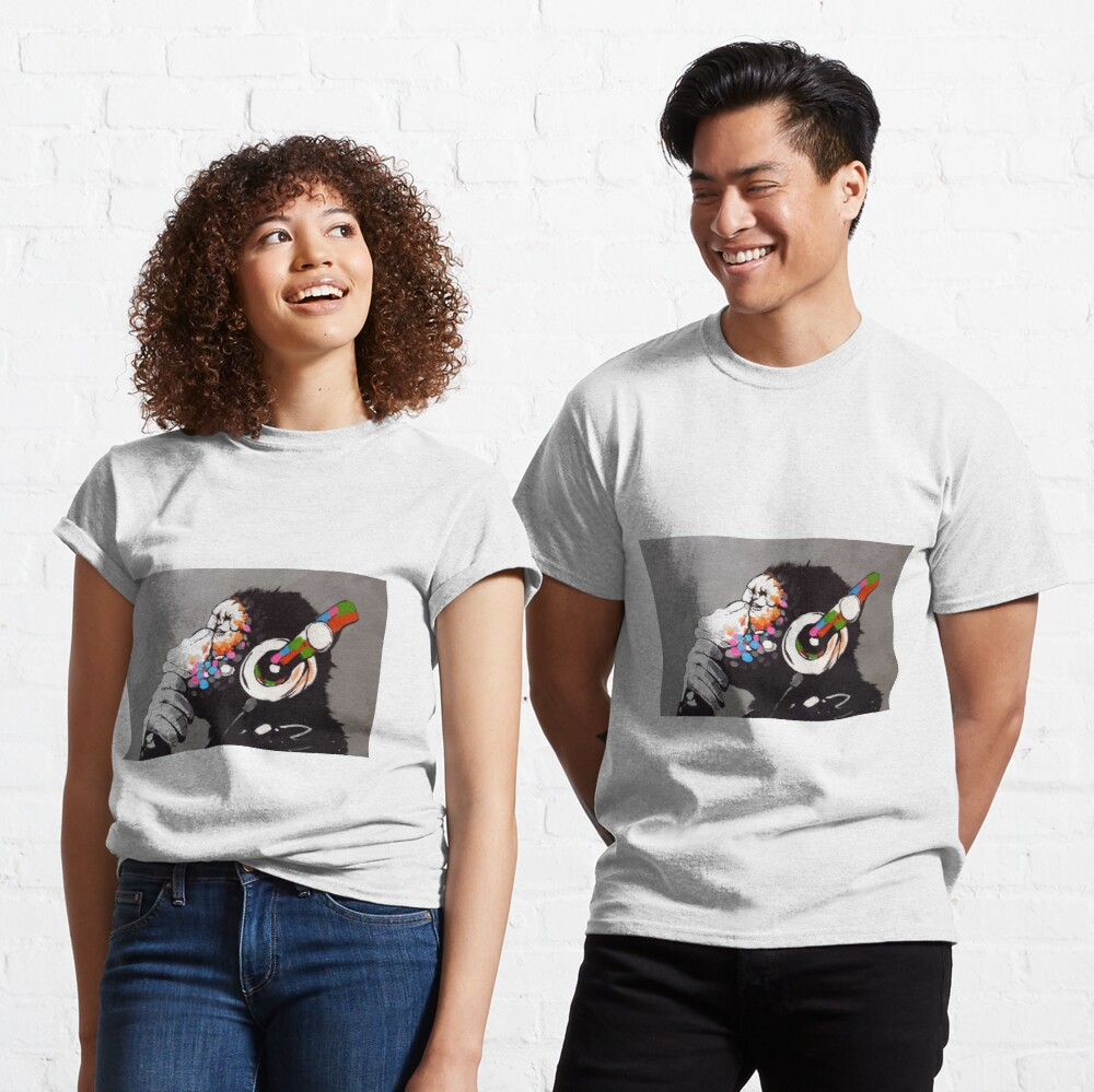 Banksy DJ Monkey Thinker with Headphones Classic T-Shirt