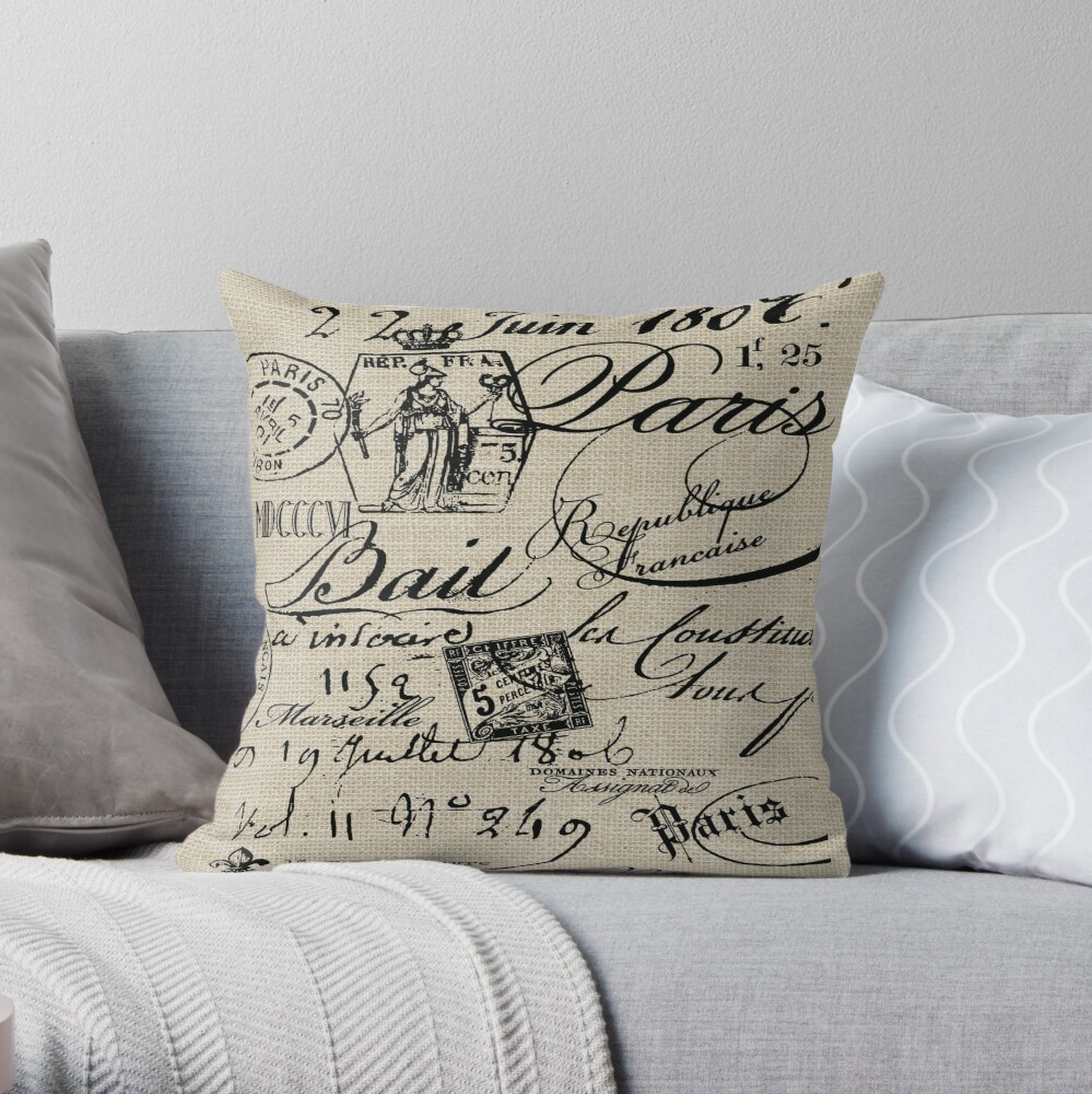 French Script Pillow Throw Pillow By Friedmangallery Redbubble