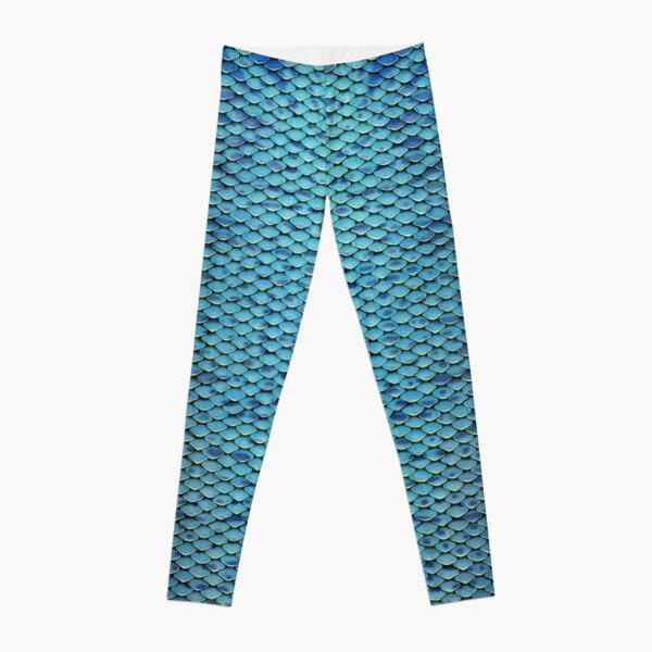Blue-green Iridescent Mermaid Scales--Gold Edges Leggings