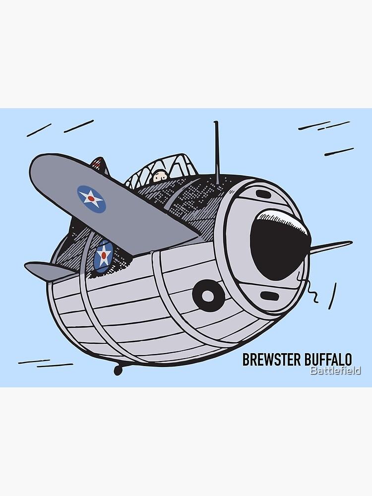 Brewster F2A Buffalo WW2 Plane Art | Greeting Card
