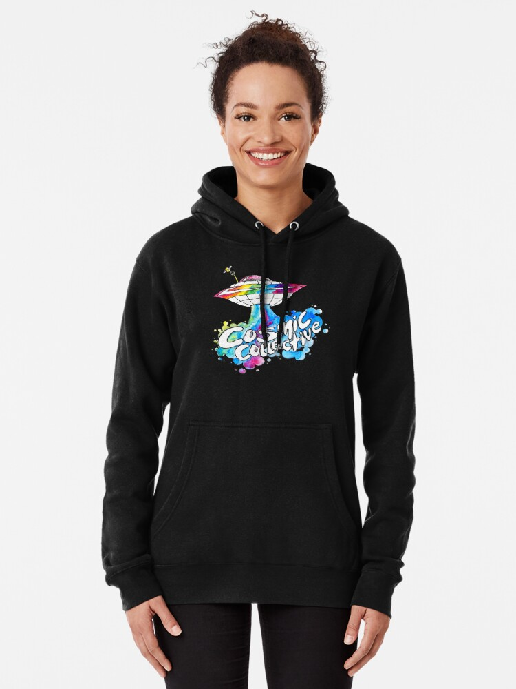 Alternate view of the Cosmic Space Ship Pullover Hoodie