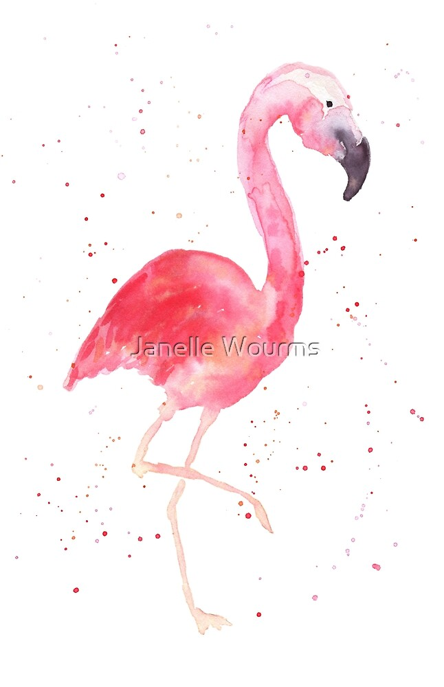 Watercolor Flamingo by Janelle Wourms