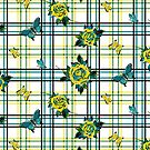 Deadly Plaid Pattern - Yellow Teal by WickedRefined - Nicole Demereckis