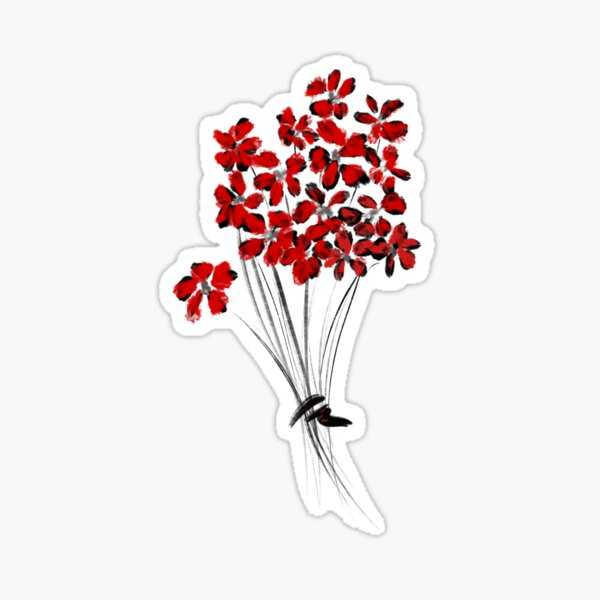 Bunch of flowers, colorized in red Sticker
