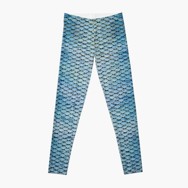 Silvery-blue Mermaid Scales Leggings