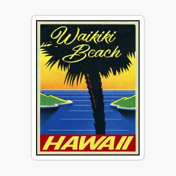 Waikiki Beach Hawaii Vintage Beach Ordinateur portable Sticker