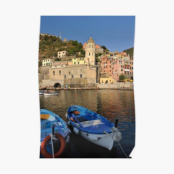 Boats in Riomaggiore, Cinque Terre, Italy Poster