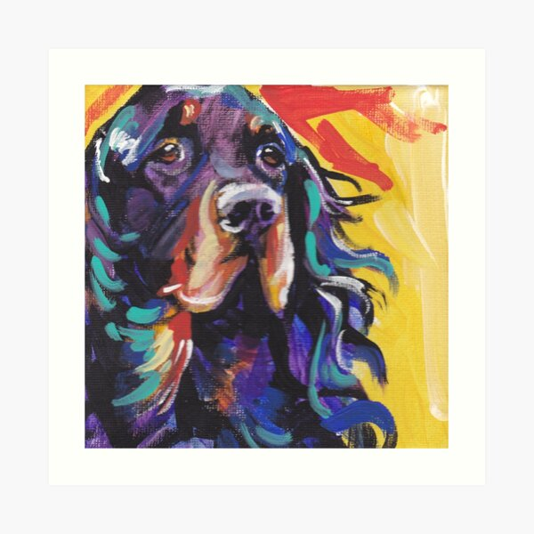 Gordon Setter Dog Bright colorful pop dog art Art Print