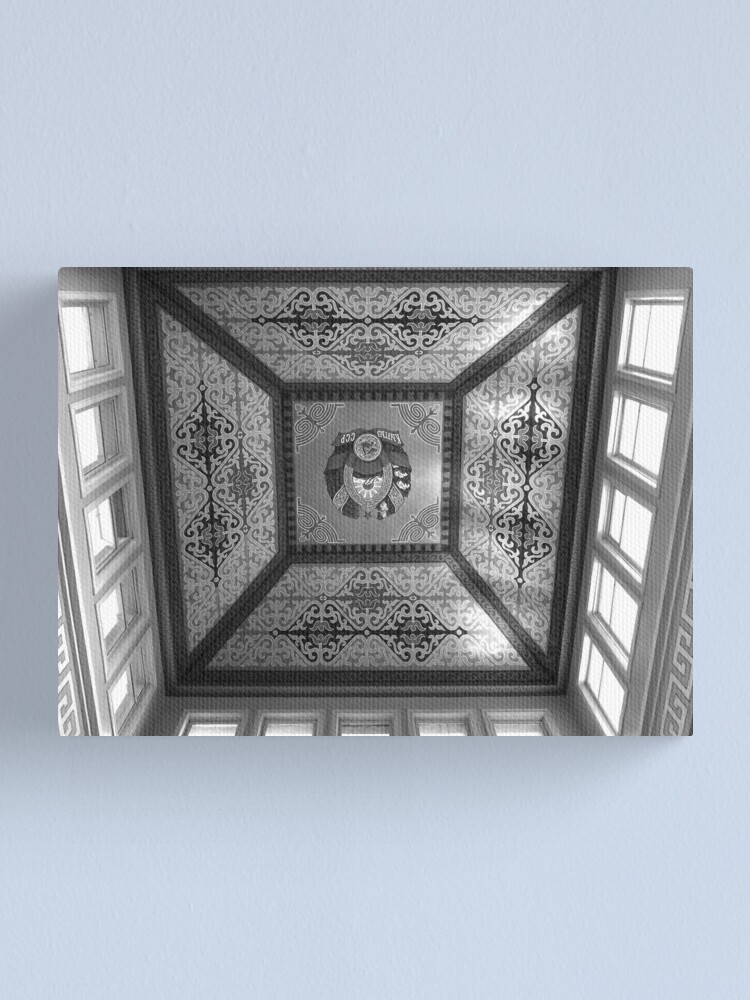 Alternate view of Bishkek Station - dome ceiling (B&W) Canvas Print
