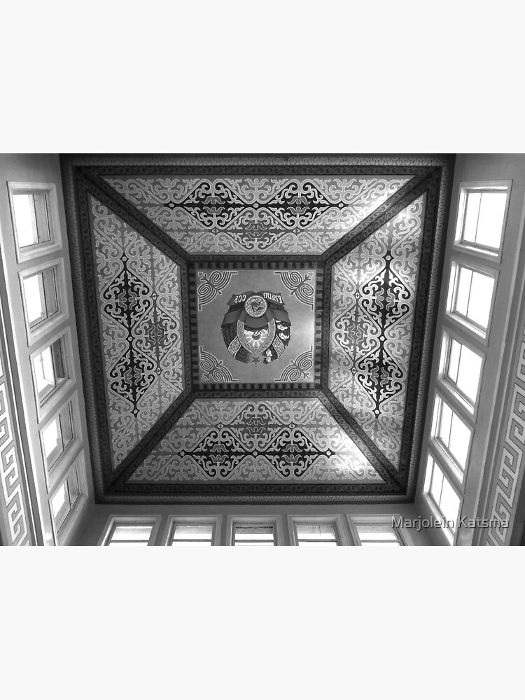 Bishkek Station - dome ceiling (B&W) by marjoleink