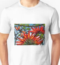 Flame Tree & Dragonfly by Sheridon Rayment Unisex T-Shirt