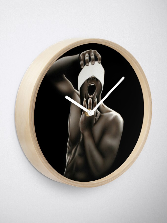 Alternate view of Descended (Color pencil drawing) Clock