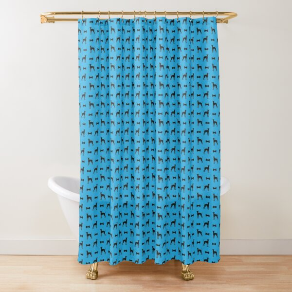 Dog and Bone - Lurcher - mini light blue Shower Curtain