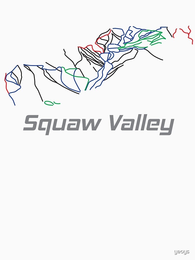 Squaw Valley California Ski Pist Map - Winter Vacation Gift by yeoys