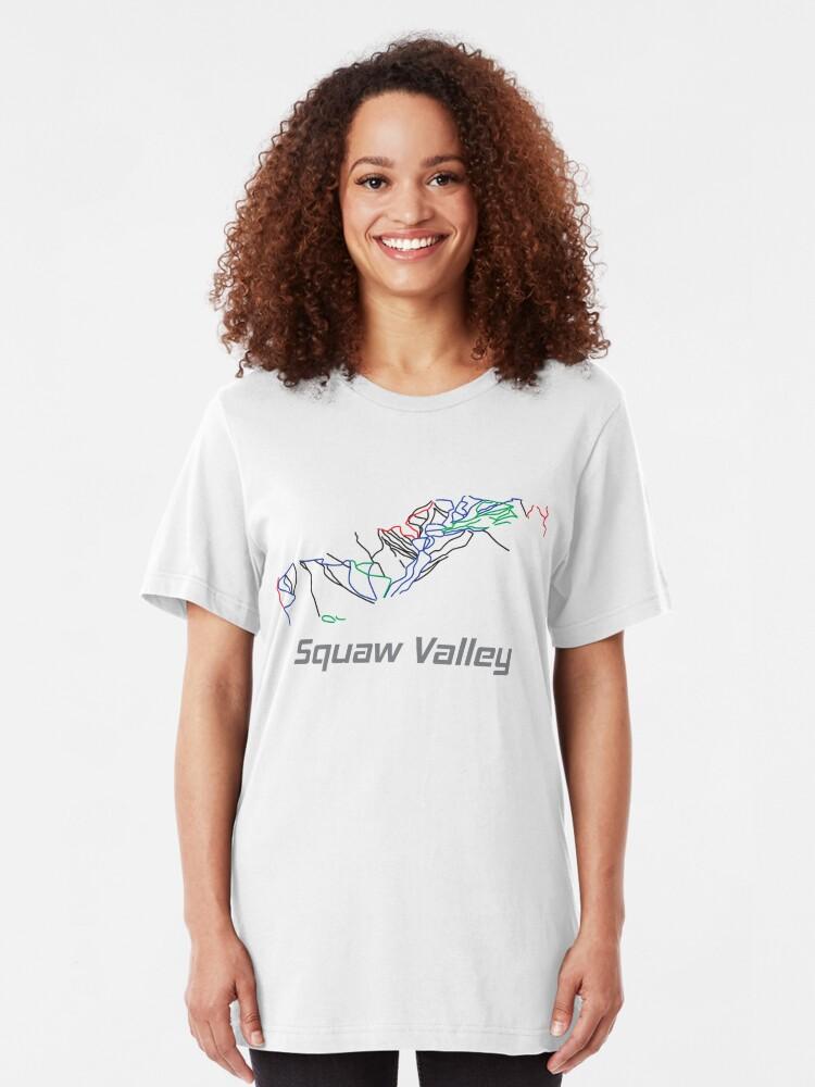 Alternative Ansicht von Squaw Valley California Ski Pist Map - Winter Vacation Gift Slim Fit T-Shirt