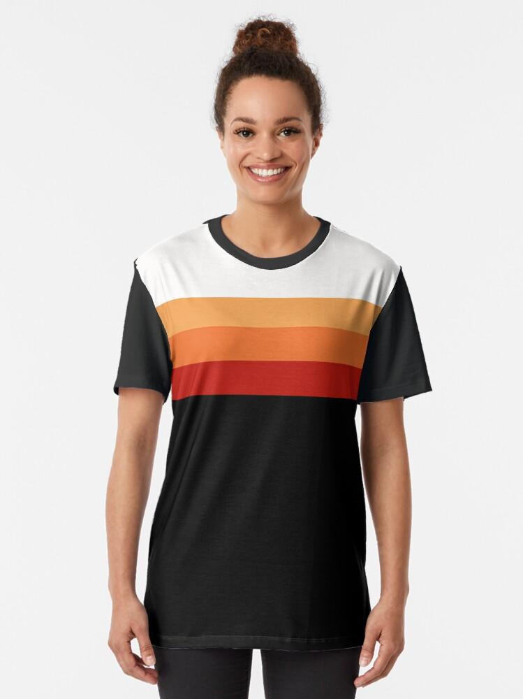 Alternate view of Retro Sunset Stripes Graphic T-Shirt