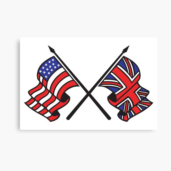 ANGLO AMERICAN FLAGS. USA, UK. America, American. Great Britain, British, Union Jack, Stars and Stripes. Canvas Print