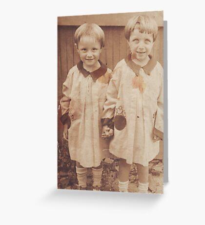 Dorris and Dorthy Reyst 1928 twins Greeting Card