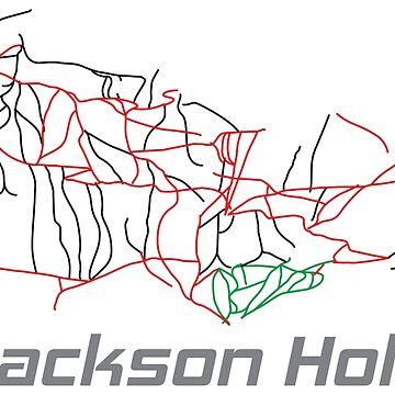 Jackson Hole Wyoming Ski Pist Map - Winter Vacation Gift by yeoys