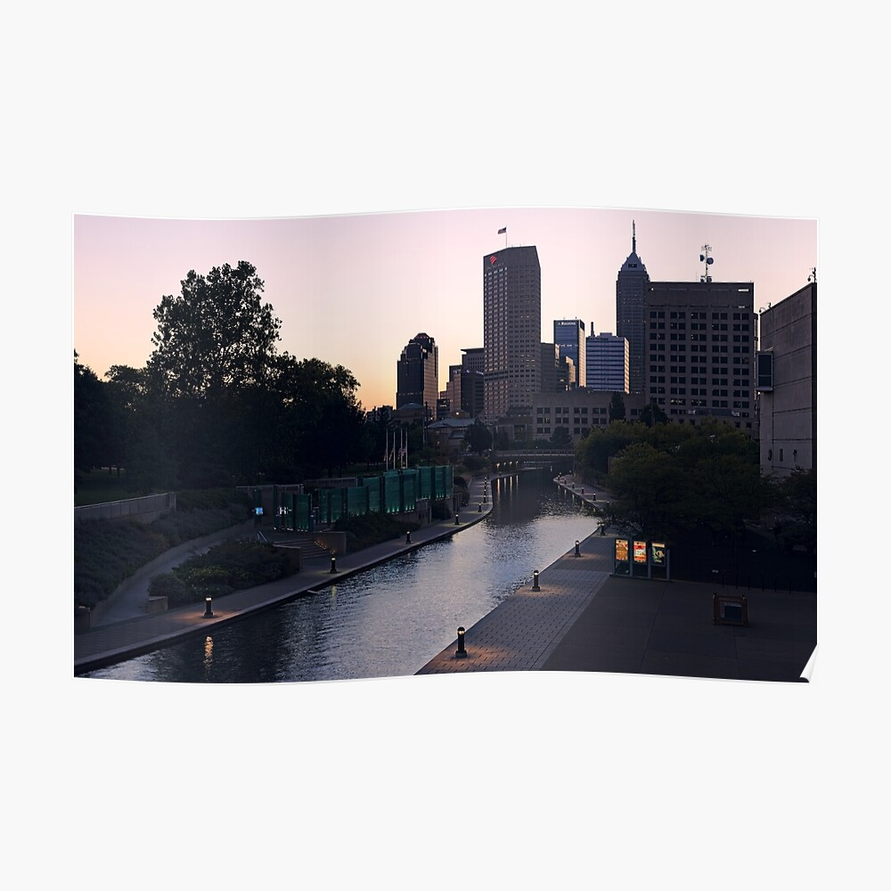 Indianapolis Canal Walk and Skyline Poster