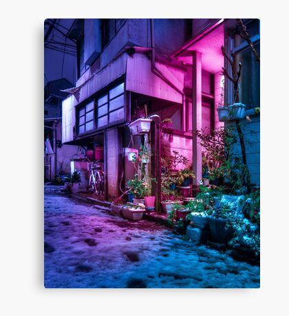 Snow over Tokyo residential area Canvas Print