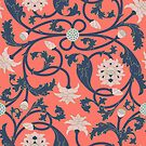 Oriental Lotus Pattern In Coral Pink by Thoth Adan