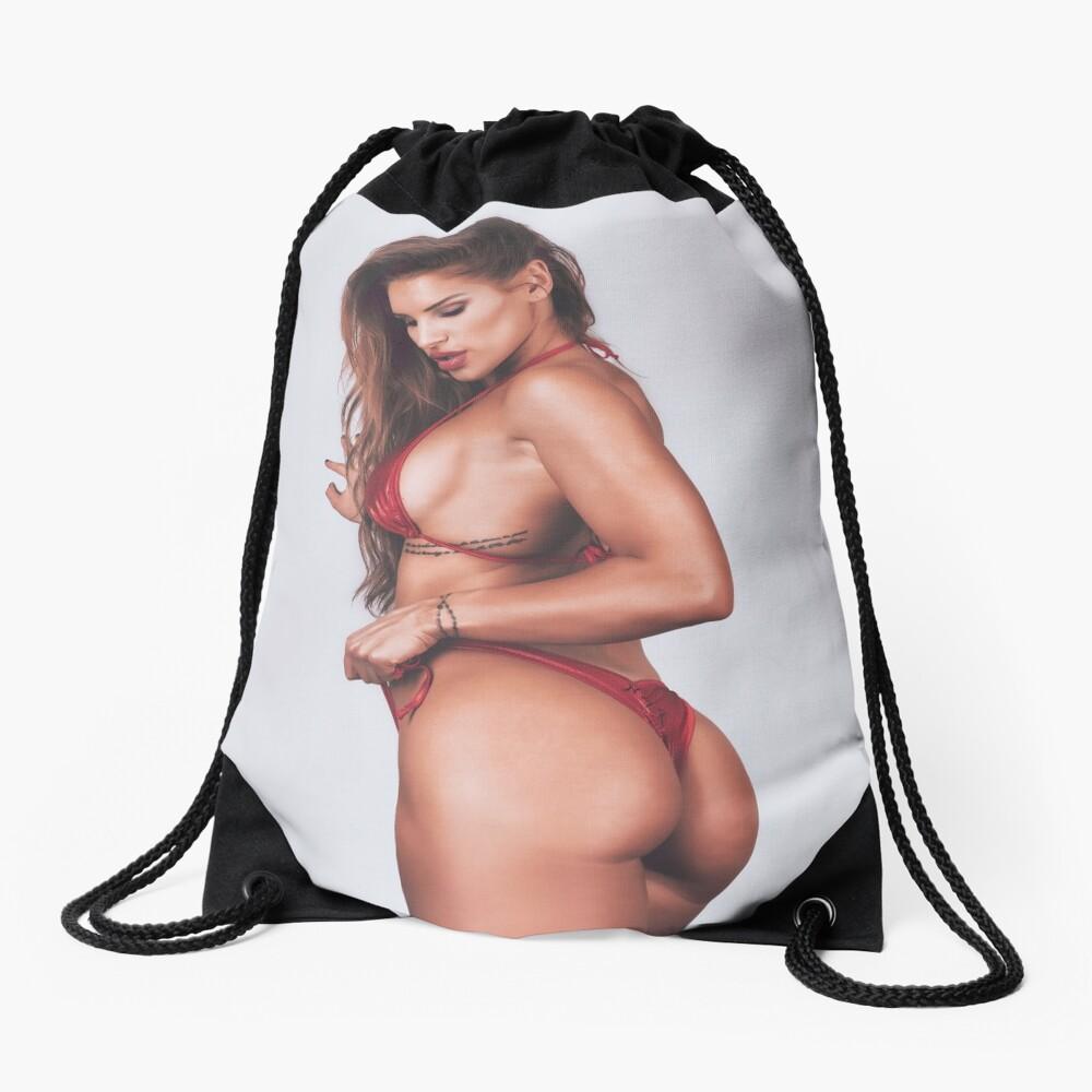 Fine Erotic Art Photography - Female Art - Bikini Model - Modern Pinup Girl Art Photography featuring Fitness Model Nikola Weiterova in a Red Thong Bikini  Drawstring Bag