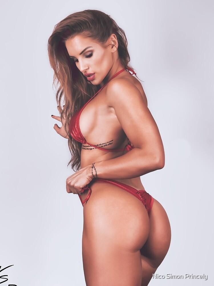 Fine Erotic Art Photography - Female Art - Bikini Model - Modern Pinup Girl Art Photography featuring Fitness Model Nikola Weiterova in a Red Thong Bikini  by NSPARTS