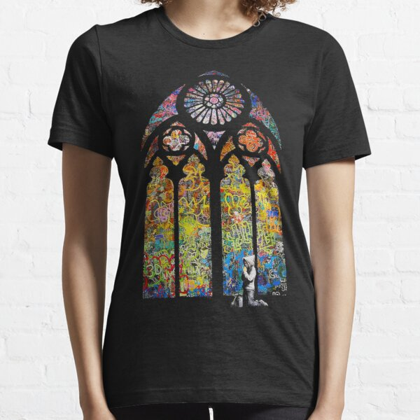 Banksy Stained Glass Window Cathedral Essential T-Shirt