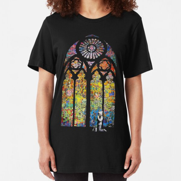 Banksy Stained Glass Window Cathedral Slim Fit T-Shirt