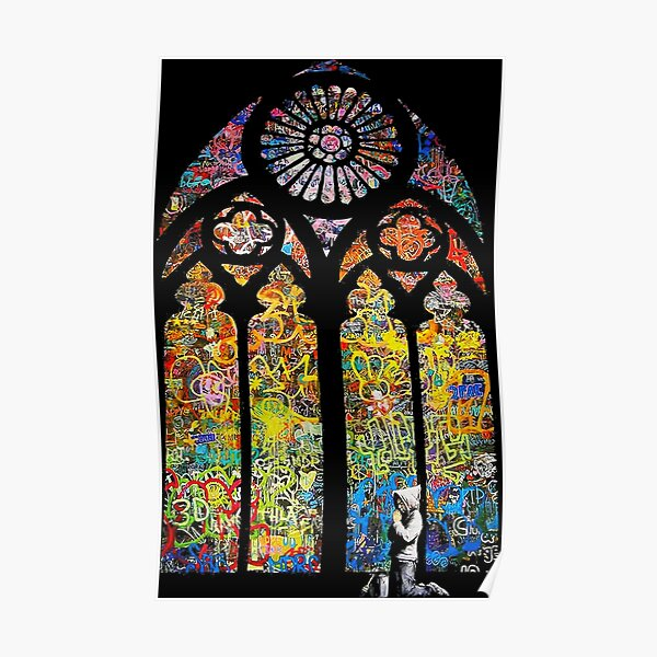 Banksy Stained Glass Window Cathedral Poster