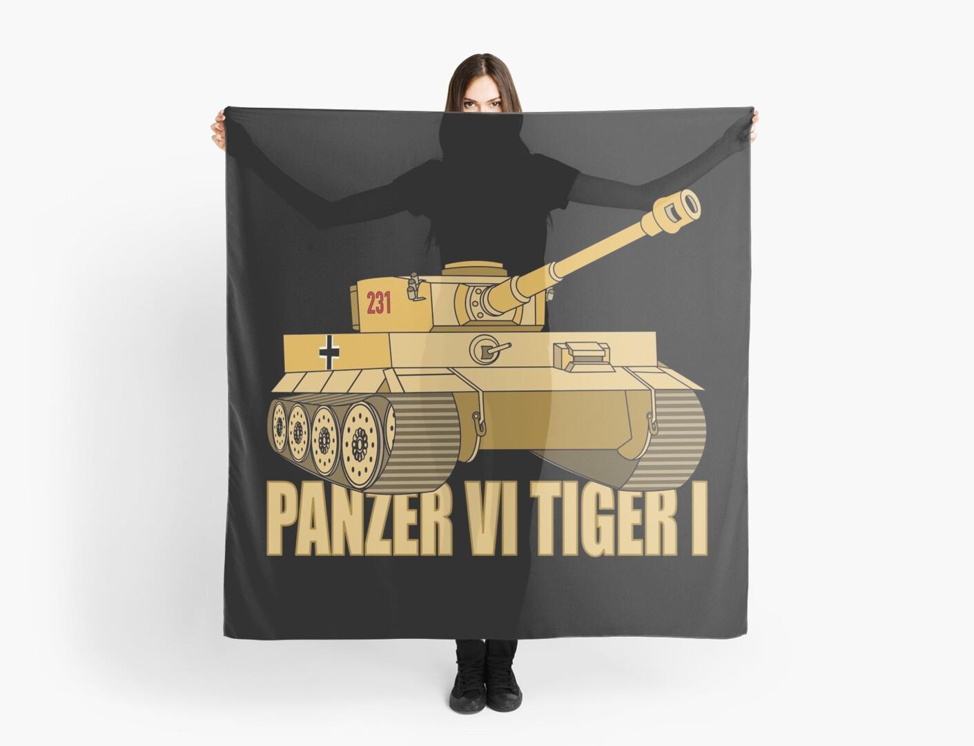 'Panzer VI Tiger I Tank Gift WW2 German Army Tanks' Scarf by Battlefield