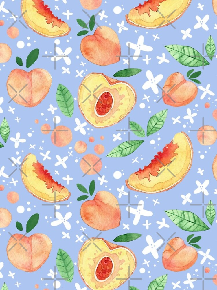 Hand Painted Watercolor Peaches Pattern - Peach Tea by annieparsons