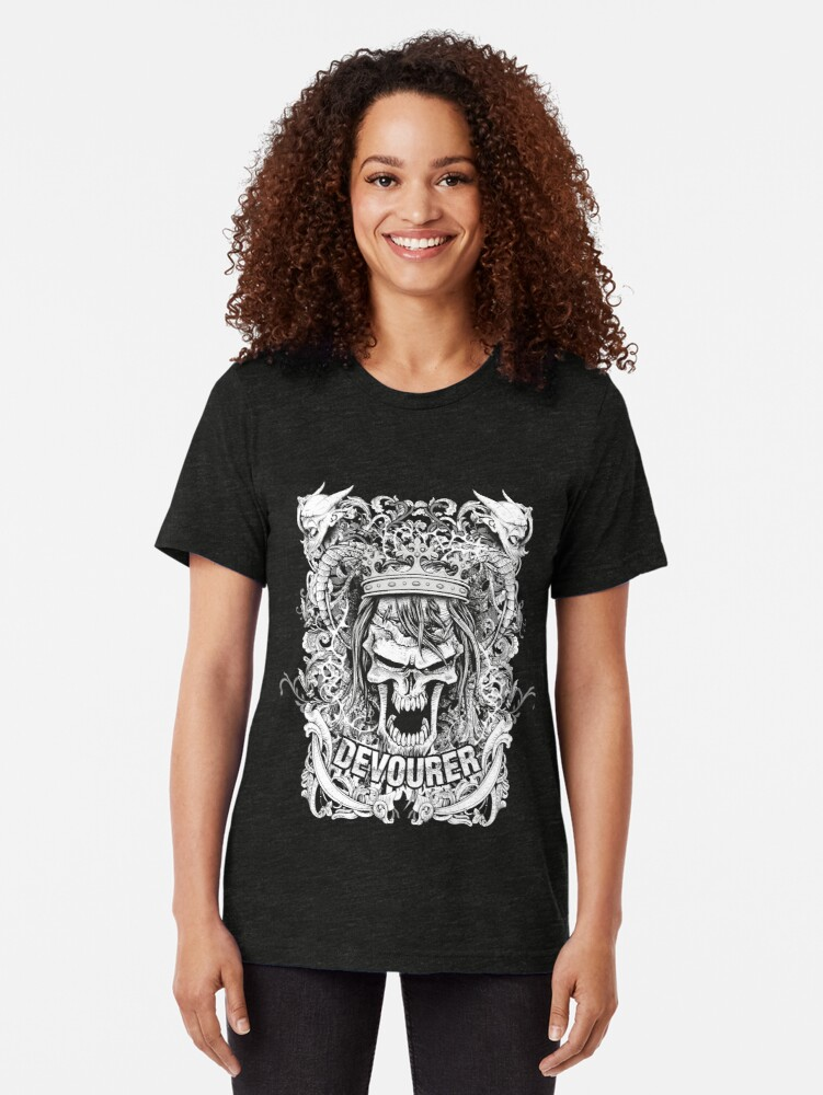 Alternate view of Beware the night Devourer Tri-blend T-Shirt