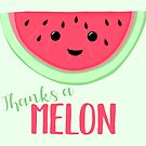 Thanks a MELON - Thanks a million - Melon Pun - Teacher Card - Funny Thanks - Funny Thank you by JustTheBeginning-x (Tori)