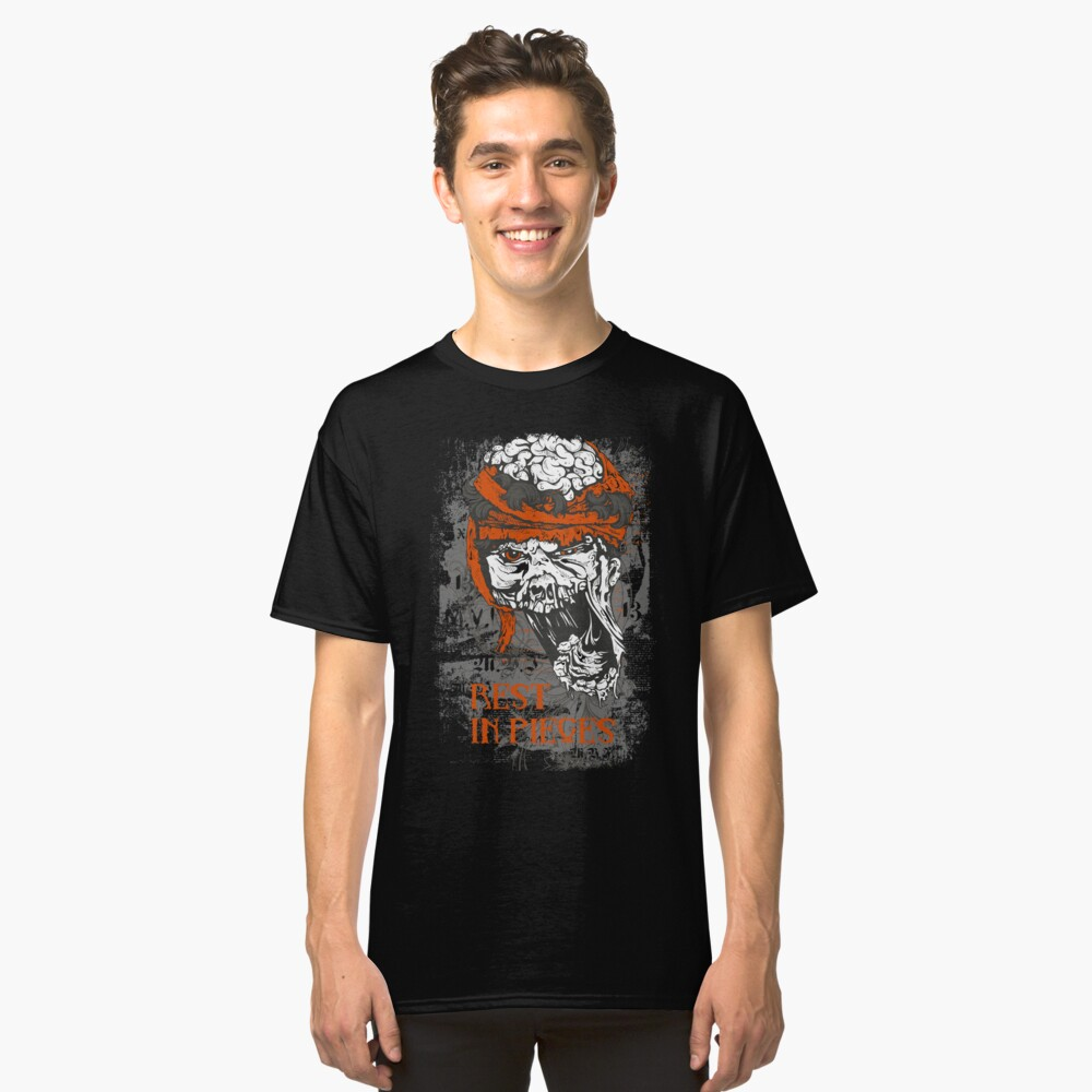 Rest in Pieces skull brains Classic T-Shirt Front