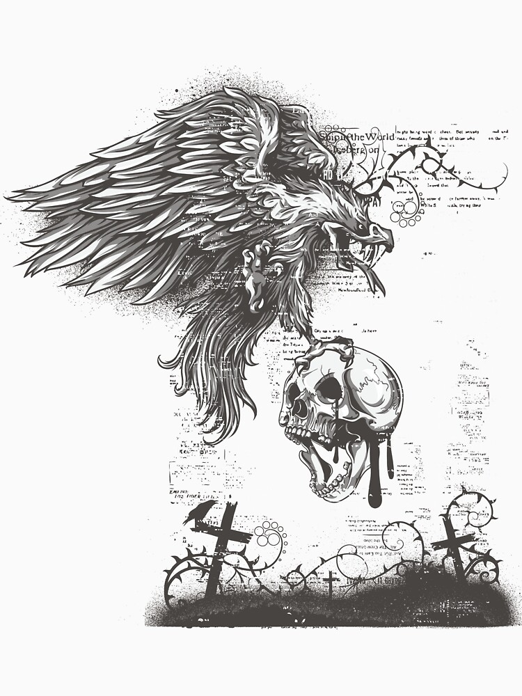Cross graveyard skull eagle by designhp