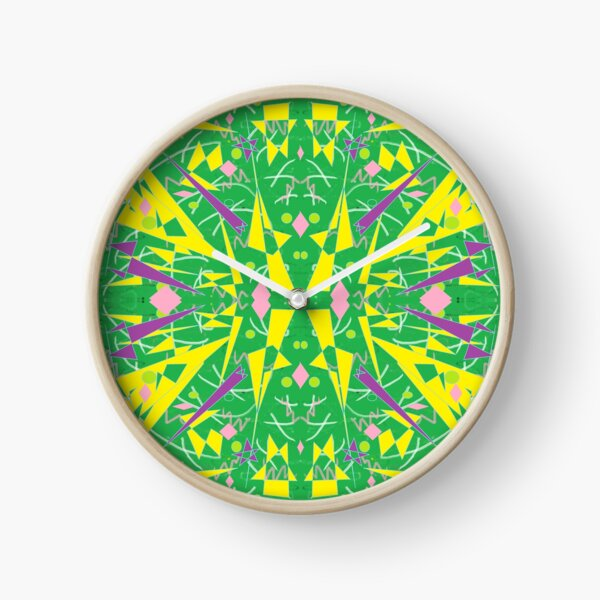 Princess Abstract green yellow Clock