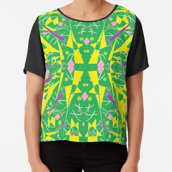 Princess Abstract green yellow Chiffon Top