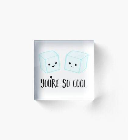 You're so COOL - Ice Cube - Ice Puns - Valentines Day Puns - Anniversary Puns - Birthday Puns  Acrylic Block
