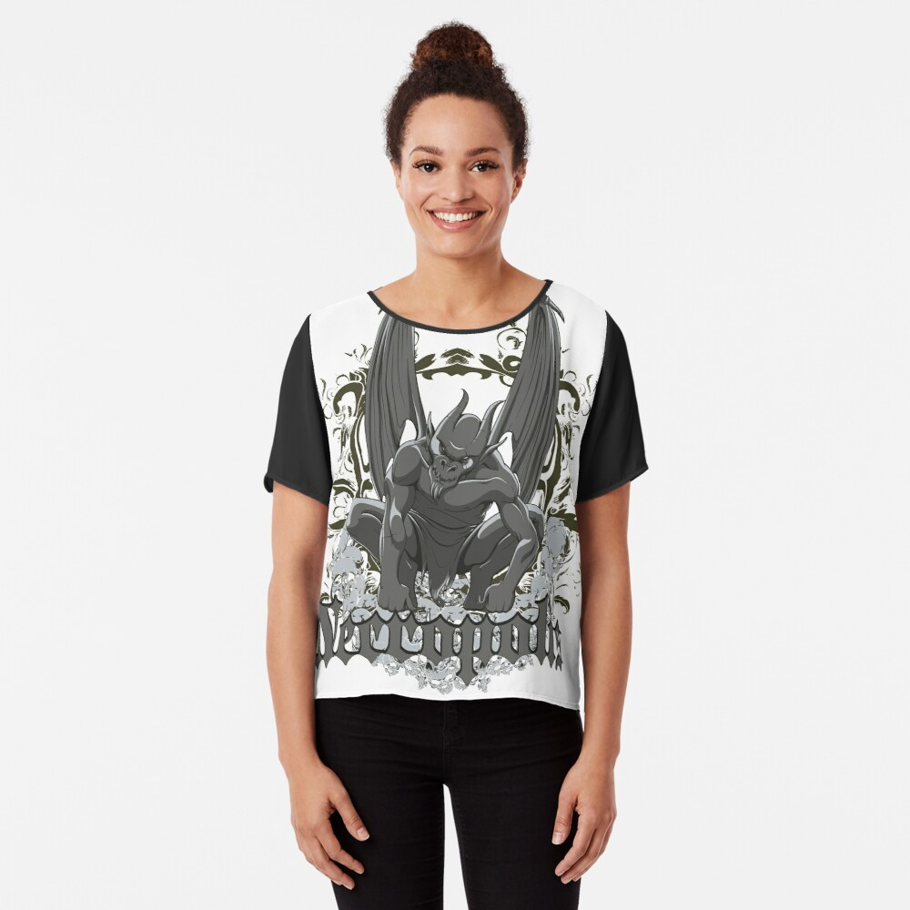 Necropolis angel of death wings skulls Chiffon Top